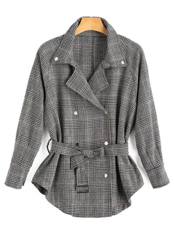 ladies Double Breasted Houndstooth Lapel Jacket - GRAY S