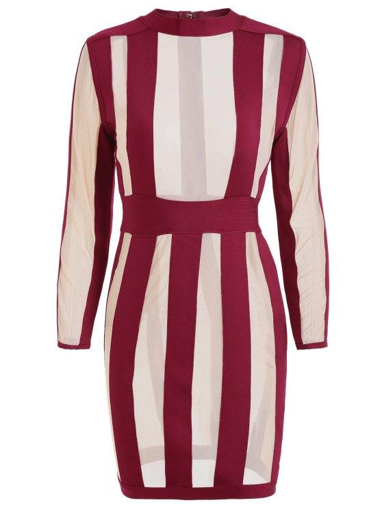 hot Semi Sheer Mesh Panel Bandage Dress - DARK RED M