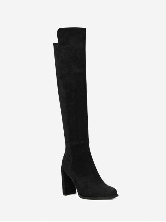 1b818a317c 39% OFF] 2019 Almond Toe High Heel Thigh High Boots In BLACK   ZAFUL