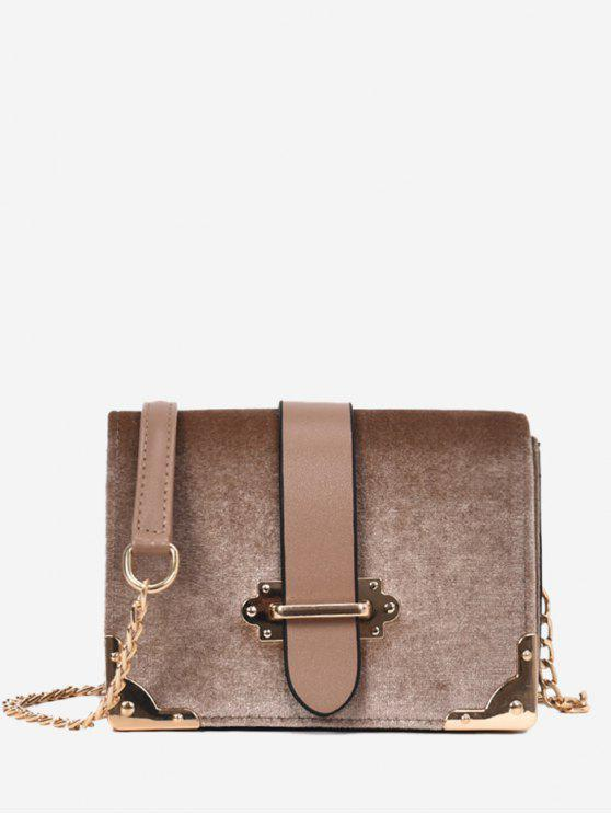 womens Chain Metallic Crossbody Bag - KHAKI