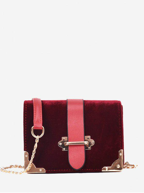 women Chain Metallic Crossbody Bag - WINE RED