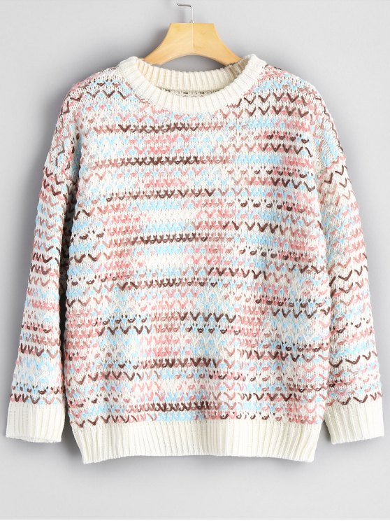 ladies Colormix Chunky Sweater - MULTICOLOR ONE SIZE
