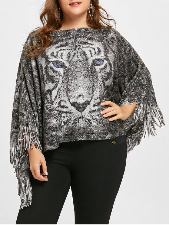 e11736aaa406a outfit Plus Size Tiger Printed Glitter Fringed Poncho Sweater - GRAY ONE  SIZE