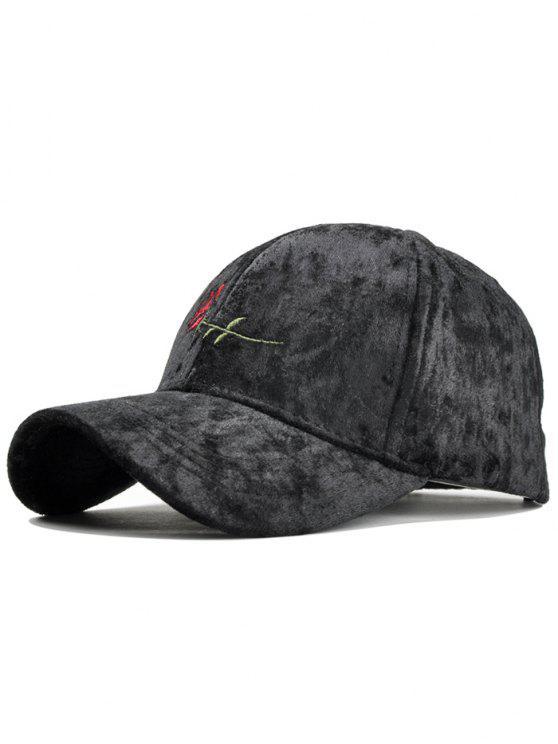 قبعة بيسبول مزينة بوردة - أسود