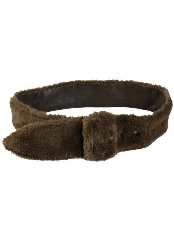 outfits Rectangle Buckle Embellished Furry Wide Waist Belt - OLIVE GREEN
