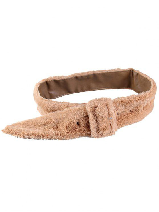 shops Rectangle Buckle Embellished Furry Wide Waist Belt - KHAKI