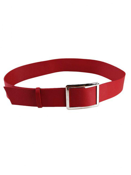 chic Metal Buckle Decorated Faux Leather Wide Waist Belt - RED