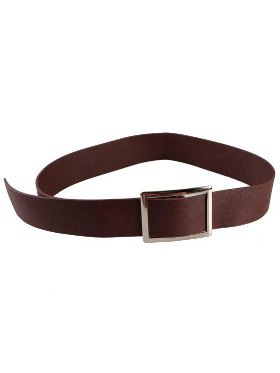 fancy Metal Buckle Decorated Faux Leather Wide Waist Belt - COFFEE