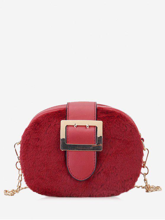 حقيبة كروسبودي مغلقة بمشبك مع سلسلة - أحمر