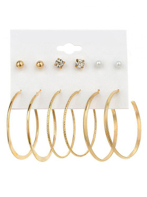 chic Faux Pearl Rhinestone Hoop Earring Set - GOLDEN