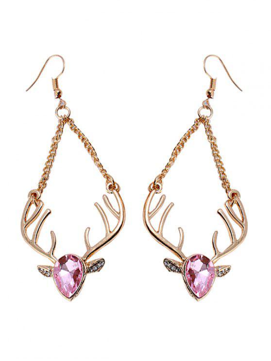 Pendientes de cadena de renos de cristal de imitación de Navidad - Rosa