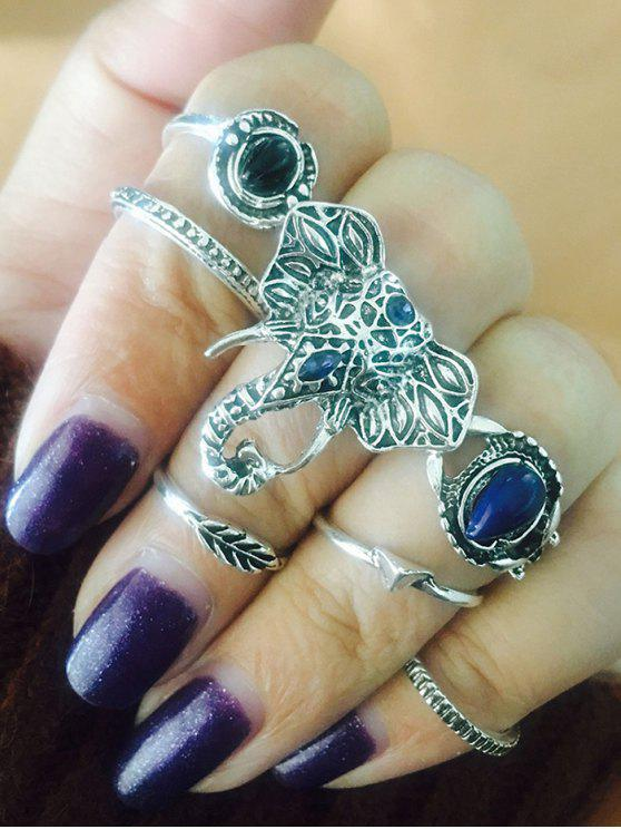 buy Vintage Elephant Leaf Teardrop Finger Ring Set - SILVER