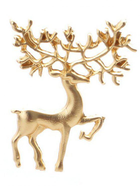 ladies Christmas Elk Brooch - GOLDEN