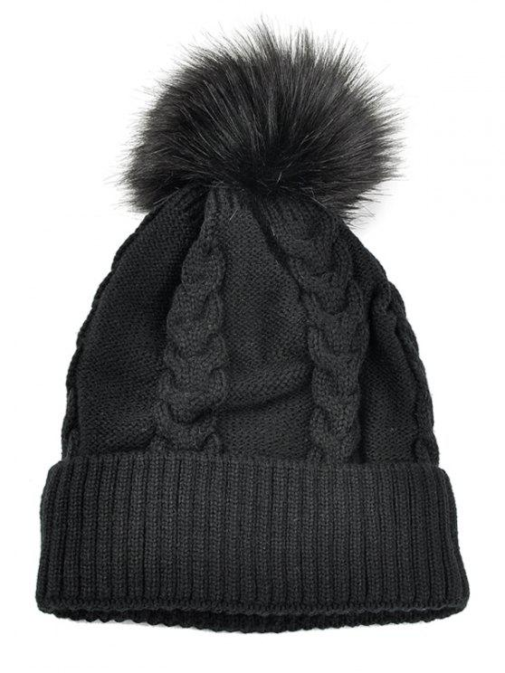 lady Striped Pattern Decorated Knitted Pom Beanie - BLACK