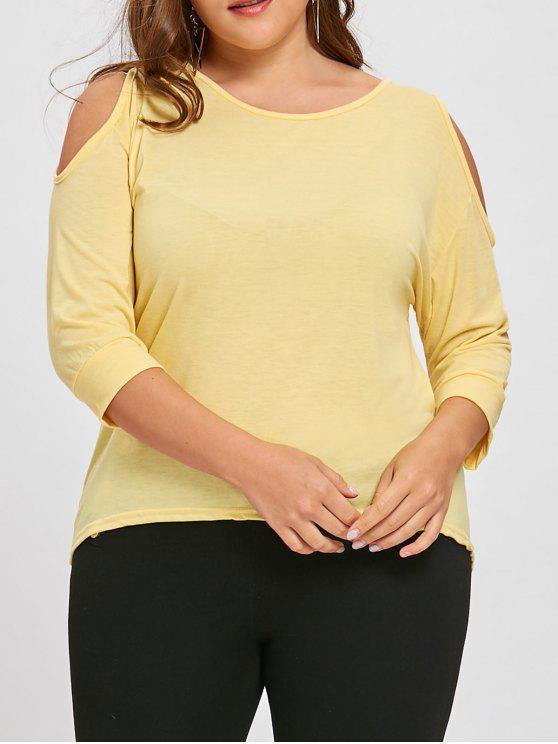 c004cbd8b41b2 2018 Plus Size Cutout Cold Shoulder Asymmetric Tunic Top In YELLOW ...