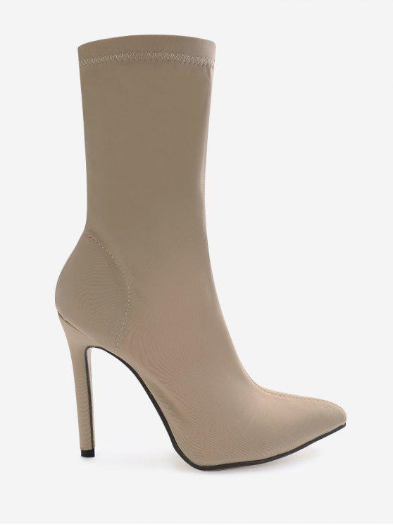 sale Point Toe Stiletto Heel Stretch Sock Boots - APRICOT 37