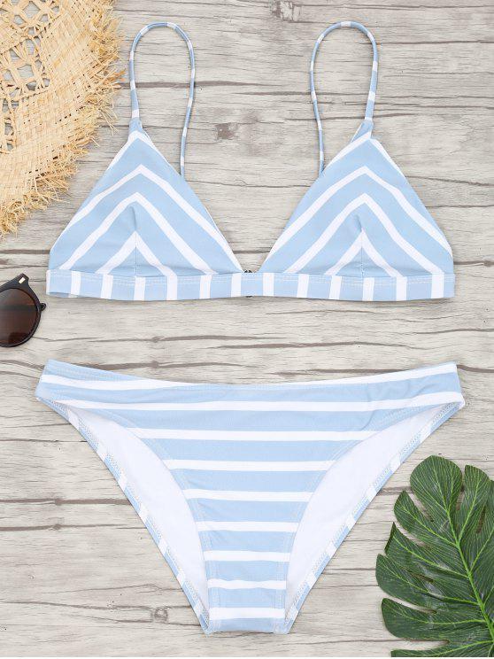 outfit Chevron Striped Cami Bikini Set - BLUE AND WHITE M