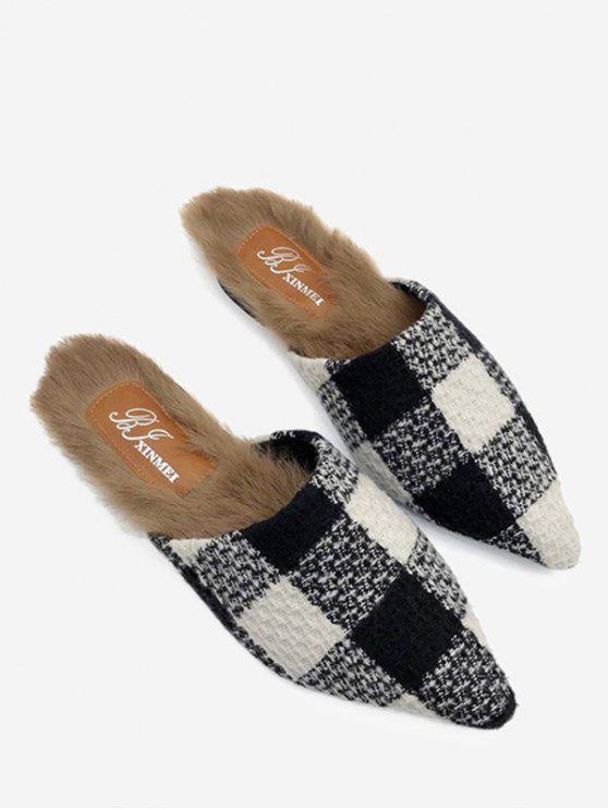 latest Fuzzy Footbed Color Block Checkered Mules Shoes - BLACK 38