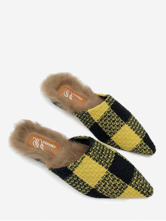 affordable Fuzzy Footbed Color Block Checkered Mules Shoes - YELLOW 35