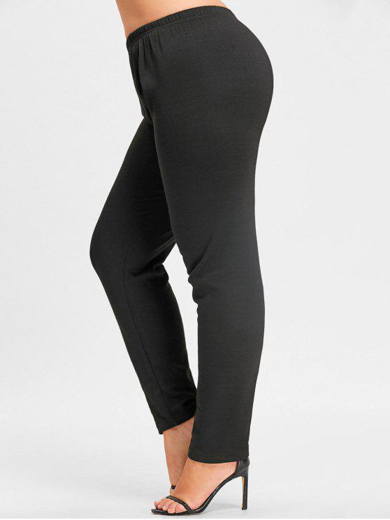 latest Plus Size Flocking Leggings - BLACK 3XL