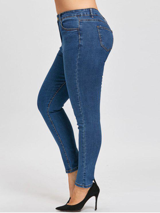 Klassische Übergroße Schmale Bein Jeans - Denim Blau 3XL