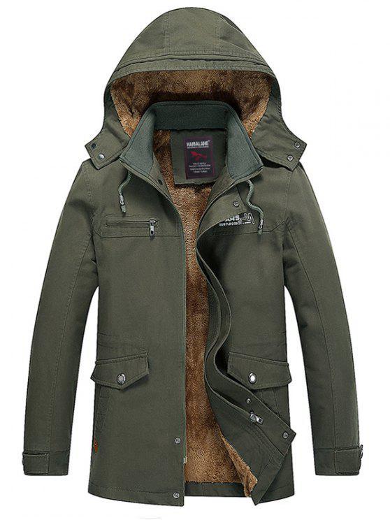 Cappotto Di Pile Incappucciato Con Cerniera E Tasche - verde  2XL