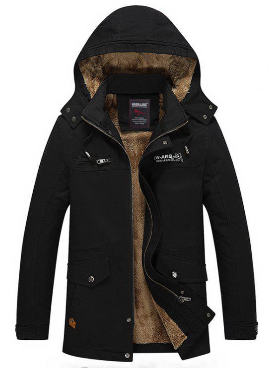 Abnehmbare Kapuze Taschen Fleece Zip Up Coat - Schwarz 3XL