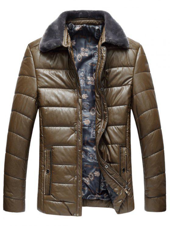 Kunstpelzkragen PU Leder Gepolsterter Reißverschluss Mantel - Khaki XL