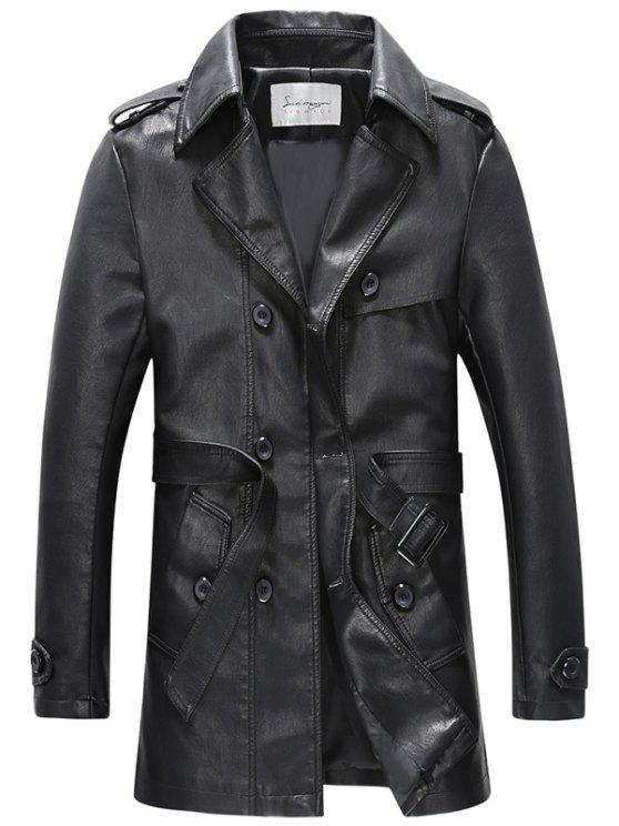 sale Double Breasted Belt PU Leather Trench Coat - BLACK 3XL
