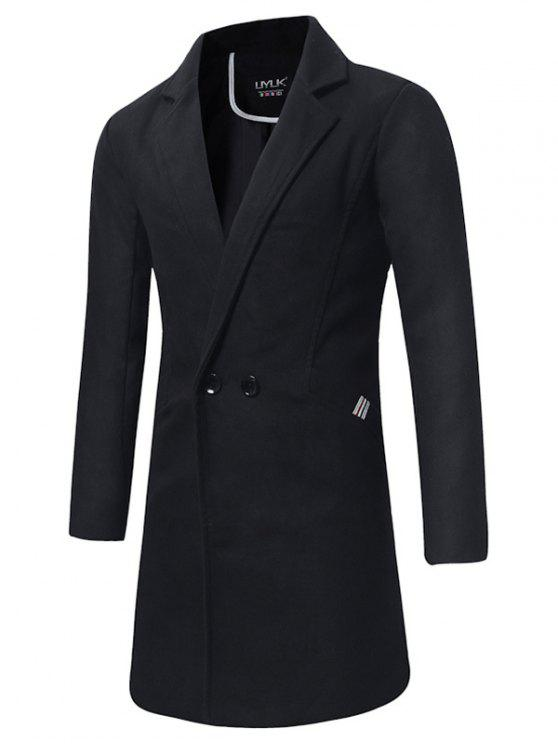 Turndown Collar Double Breasted Longline Peacoat - Nero 2XL