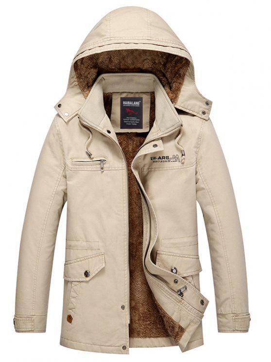 outfits Detachable Hooded Pockets Fleece Zip Up Coat - LIGHT KHAKI 3XL