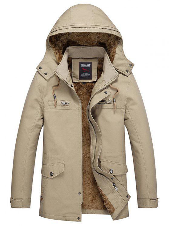 Abnehmbare Kapuze Taschen Fleece Zip Up Coat - Dunkles Khaki 2XL