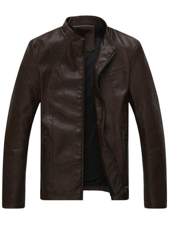 trendy Full Zip Stand Collar Faux Leather Jacket - COFFEE 3XL