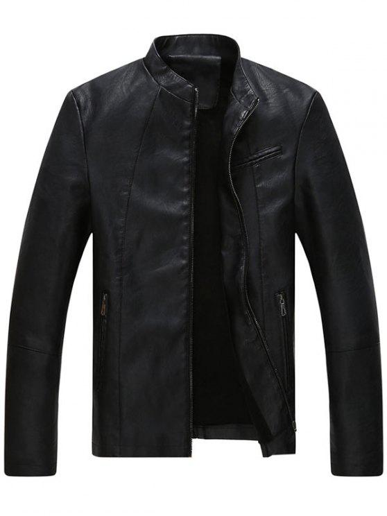 womens Full Zip Stand Collar Faux Leather Jacket - BLACK 2XL