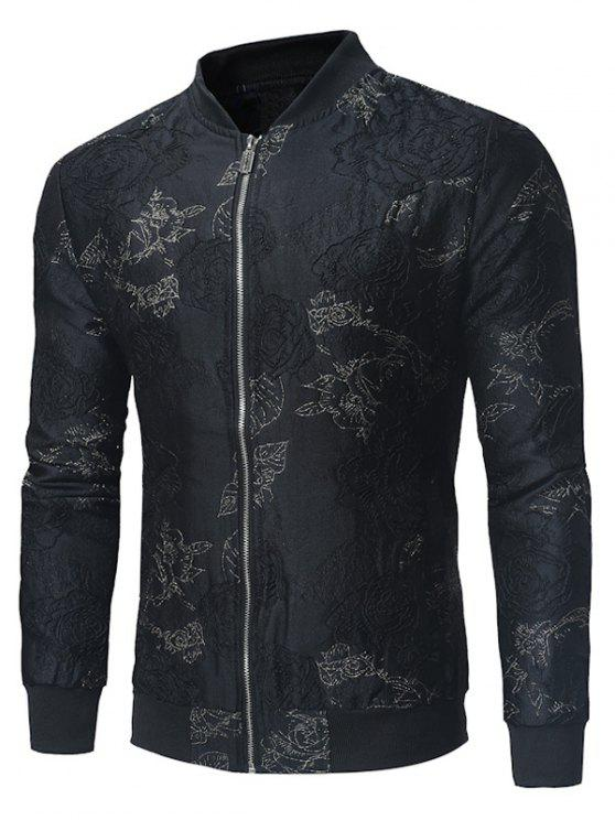 Stand collar golden embroidered zip up jacket black