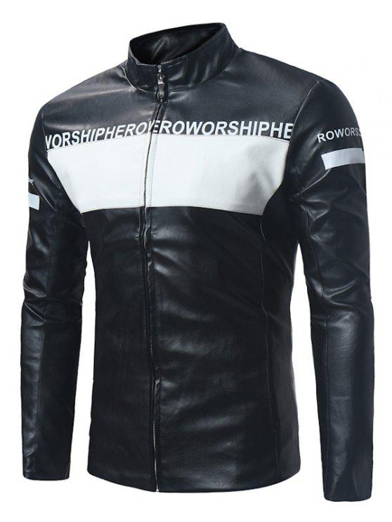 latest Graphic Color Block PU Leather Zip Up Jacket - BLACK 2XL