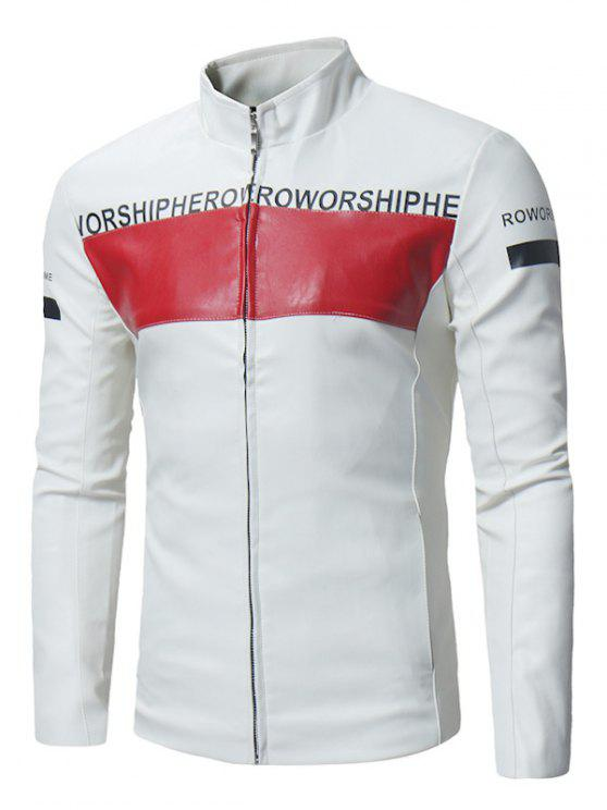 buy Graphic Color Block PU Leather Zip Up Jacket - WHITE 2XL