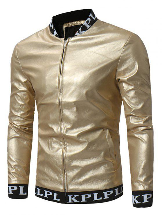 Grafische gerippte Zip Up PU Leder Lame Jacke - Golden 3XL