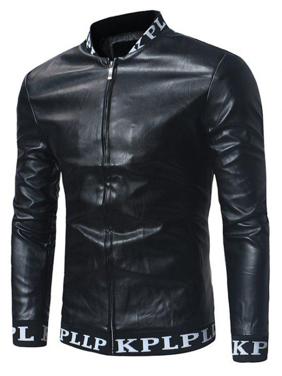 shop Graphic Ribbed Zip Up PU Leather Lame Jacket - BLACK 2XL
