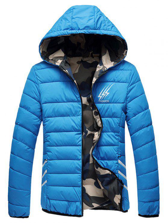 Wendbare Style Graphic Camouflage gefütterte Jacke - Helles Blau 2XL