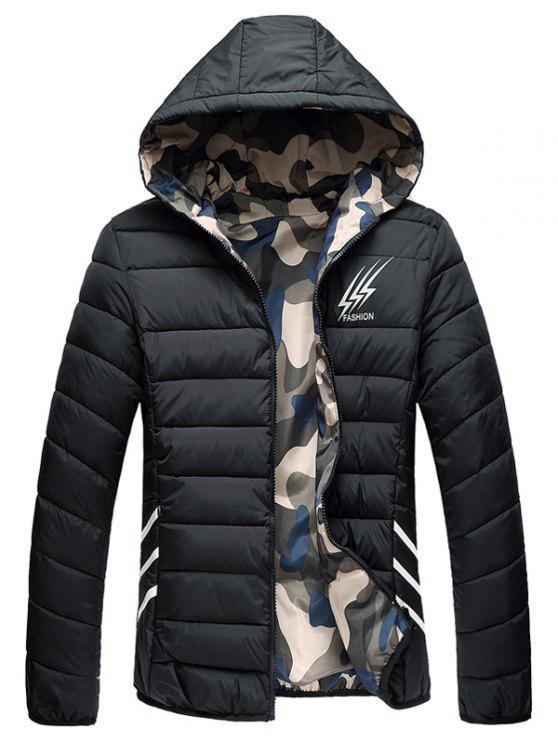 Wendbare Style Graphic Camouflage gefütterte Jacke - Schwarz 2XL