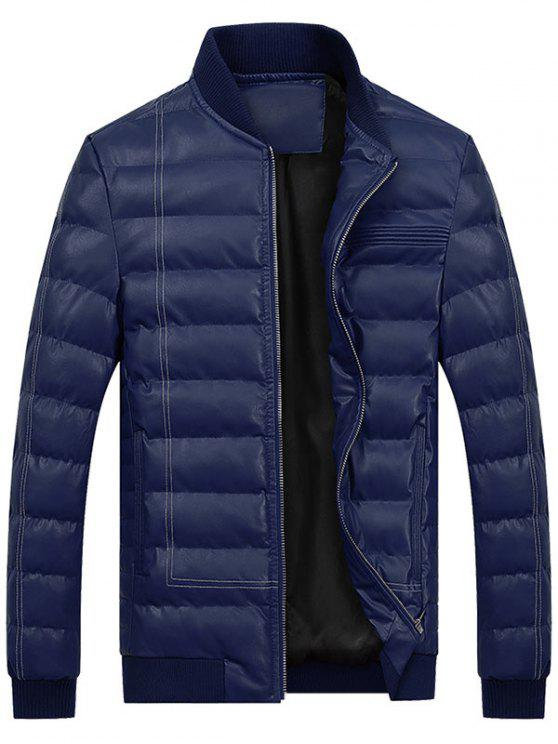trendy Zip Up Faux Leather Padded Bomber Jacket - DEEP BLUE L