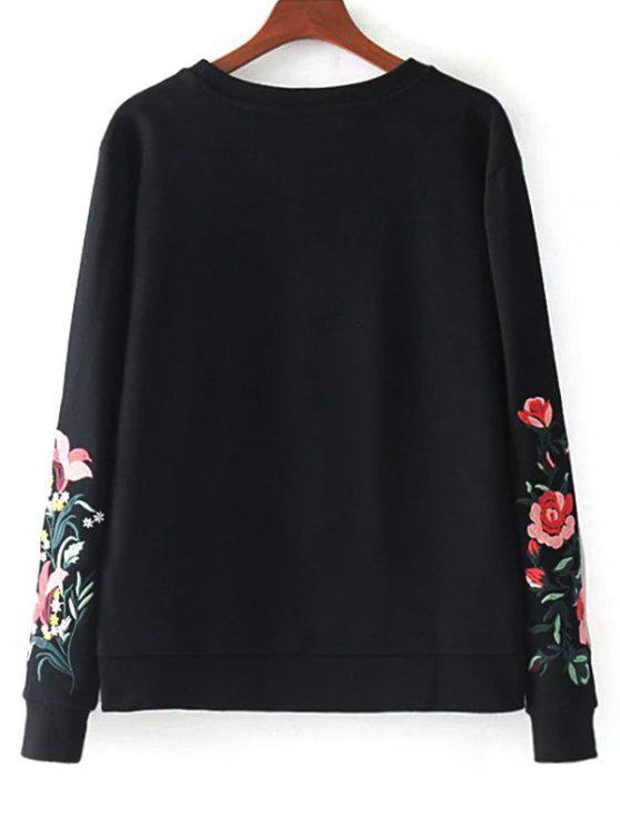 S Broderie Sweat À FloraleNoir shirt Coton En Oknw0P
