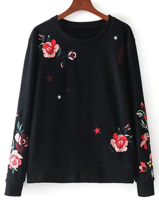 best Cotton Loose Floral Embroidered Sweatshirt - BLACK M