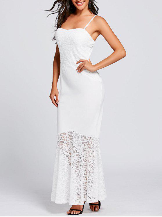 Lace Panel Spaghetti Strap Mermaid Dress - Branco S