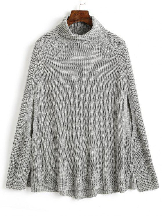 247bc7200d5 43% OFF  2019 Cape Side Slit Turtleneck Sweater In GRAY