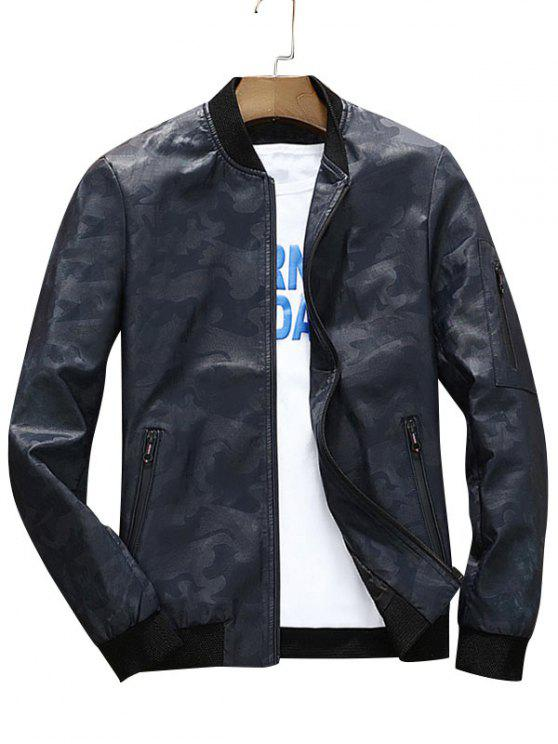 b9861e11d0b88 37% OFF] 2019 Zip Up Faux Leather Camo Bomber Jacket In DEEP BLUE ...