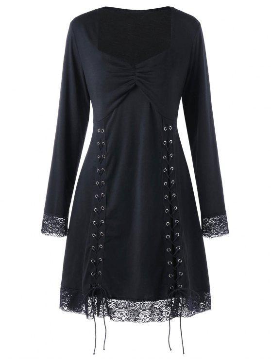 Plus Size Lace Panel Tie Up Dress Black Plus Size Dresses 4xl Zaful