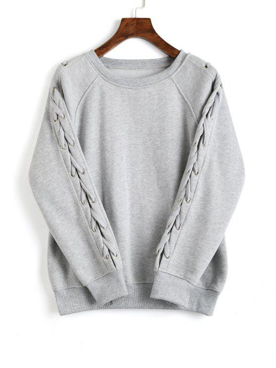 ladies Loose Raglan Sleeve Lace Up Sweatshirt - GRAY L