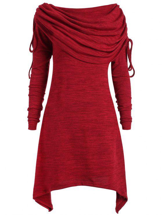 بلوزة طويلة بياقة مطوية ذات مقاس كبير - نبيذ أحمر 2XL